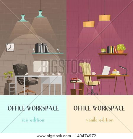 Lighting solutions for modern office workspace pleasant environment 2 vertical cartoon banners colorful background isolated vector illustration poster