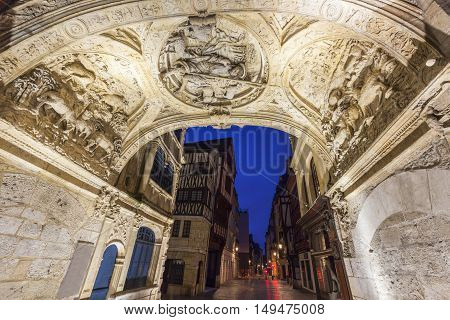 The arch of Great Clock in Rouen. Rouen Normandy France