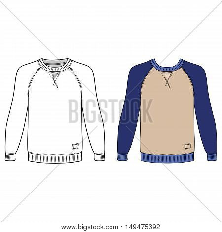 Raglan long sleeve t-shirt outlined template (front view) vector illustration isolated on white background