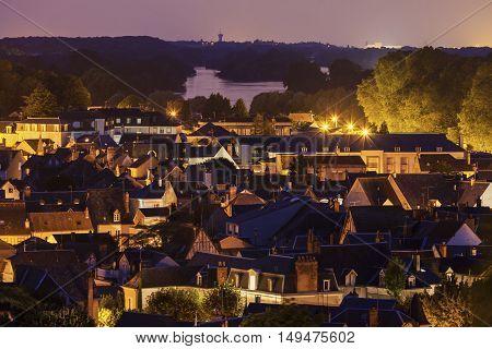 Amboise panorama with Loire River - aerial view. Amboise Pays de la Loire France