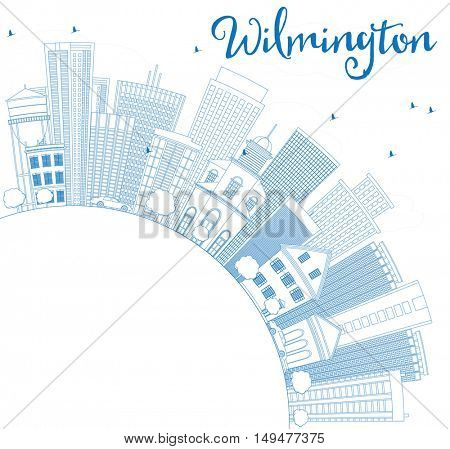 Outline Wilmington Skyline with Blue Buildings and Copy Space. Vector Illustration. Business Travel and Tourism Concept with Modern Architecture. Image for Presentation Banner Placard and Web Site.