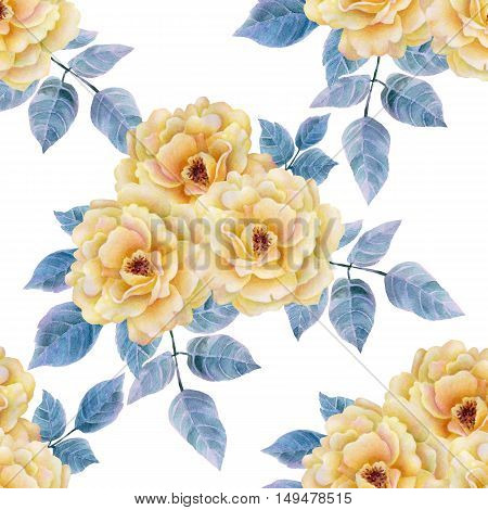 Watercolor seamless roses pattern. Background for web pages, wedding invitations, save the date cards.
