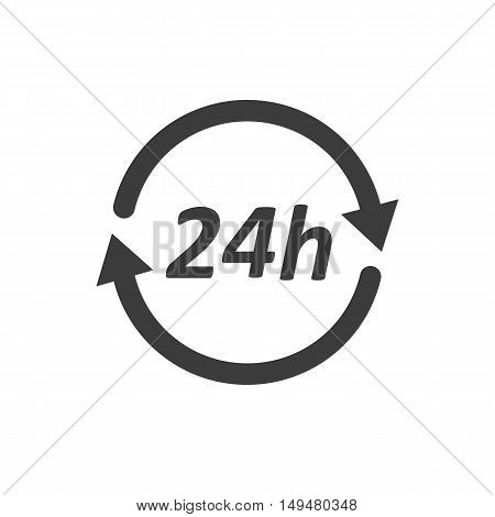 24H Icon. 24H Vector Isolated On White Background. Flat Vector Illustration In Black. Eps 10