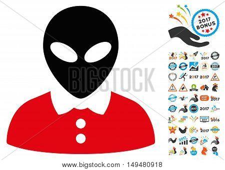 Alien Female icon with 2017 year bonus vector design elements. Set style is flat symbols, white background.