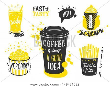 Coffee cup, glass of soda, ice cream cone, french fries and popcorn silhouettes with lettering and blots and stains. Vector illustration isolated on white, eps10.