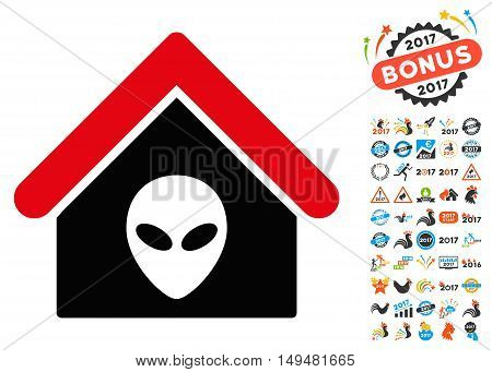 Alien Home icon with 2017 year bonus vector pictograms. Set style is flat symbols, white background.