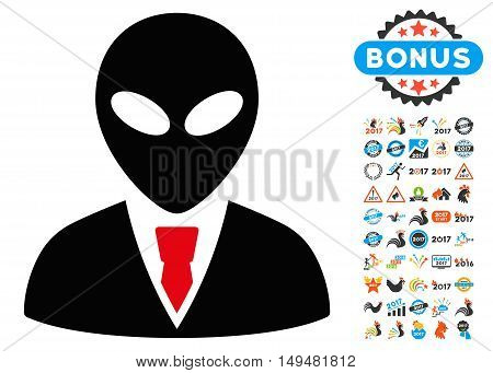 Alien Manager icon with 2017 year bonus vector pictographs. Clipart style is flat symbols, white background.