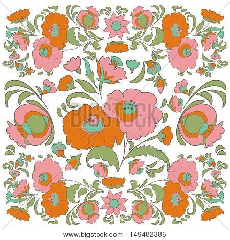 Flower Vintage background Ethnic flowers Floral folk art Folkart Vector illustration Ethnic decoration flowers folk ethnic theme Card exotic Fabulous floral pattern