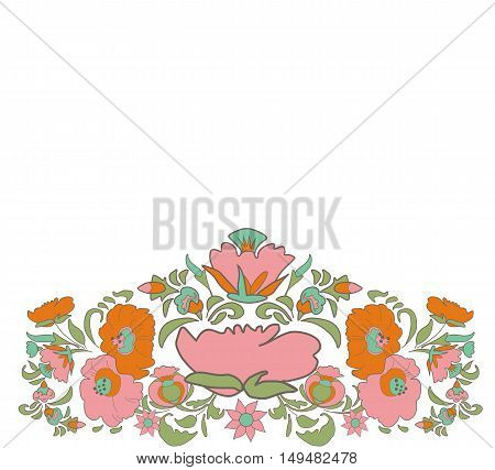 Ethnic decoration flowers folk ethnic theme Ethnic flowers Floral folk art Folkart Flower pattern Vintage background Vector illustration Card exotic Fabulous floral pattern