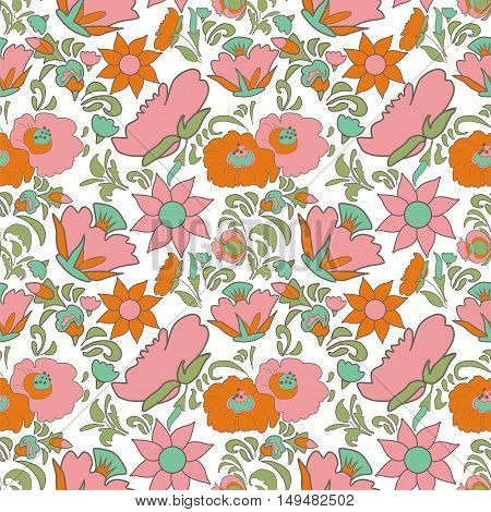 Folk art seamless floral pattern Ethnic flowers Floral folk art Folkart Flower pattern Vintage background Vector illustration Ethnic decoration flowers folk ethnic theme Card exotic