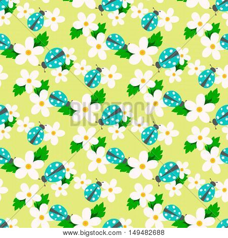 Small flower vector with ladybug. Cute white floral seamless pattern. Floral background.