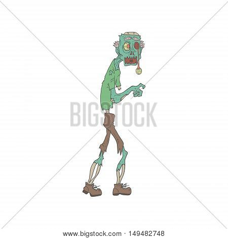Blue Skinned Creepy Zombie With Rotting Flesh Outlined Hand Drawn Adult Style Illustration Isolated On White Background