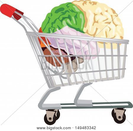 shopping cart with human organ brain spending with brain