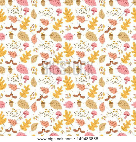Vector autumn seamless pattern with mushroom acorn oak and maple leaves. Autumn elements isolated on white background. Perfect for wallpaper gift paper web page background autumn greeting cards.