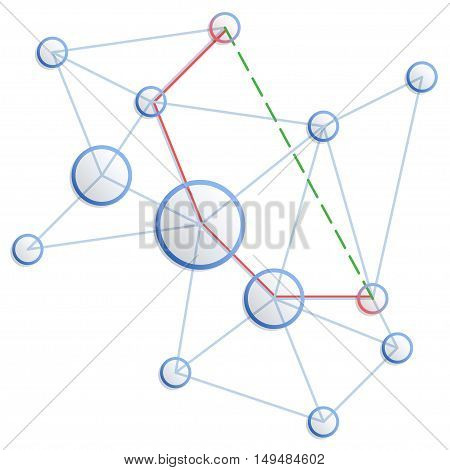 Network. Vector concept of shortest path from one point to another. Blue circles and connecting lines.