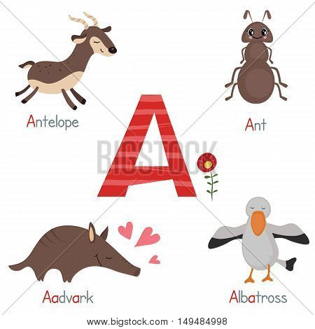Cute vector zoo alphabet. Funny cartoon animals: antelope ant aadvark albatross.