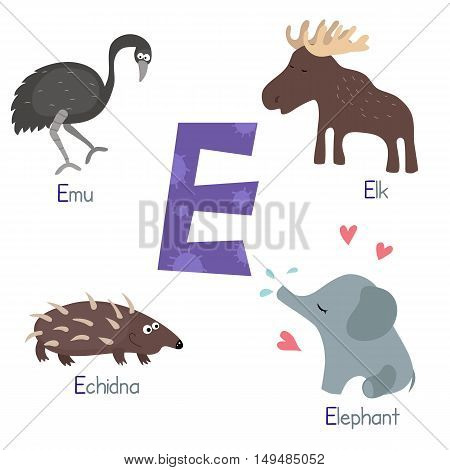 Cute vector zoo alphabet. Funny cartoon animals: emu elephant elk echidna.