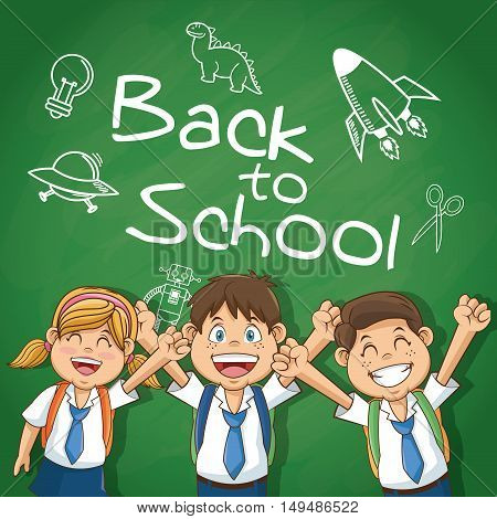 Boys and girl cartoons students. Back to school education and childhood theme. Colorful design. Vector illustration