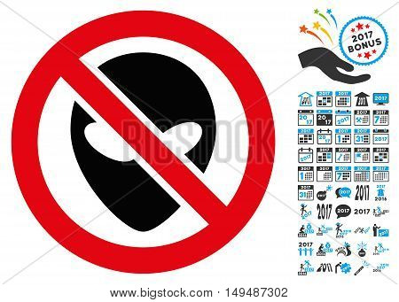 Forbidden Alien icon with 2017 year bonus vector pictographs. Design style is flat symbols, white background.