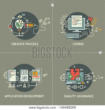 Creative process, coding, app development, quality assurence on gray background