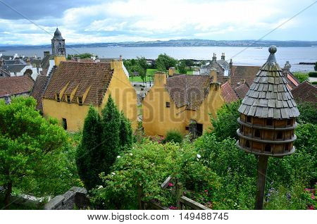 A view across the gardens to the medieval palace at Culross
