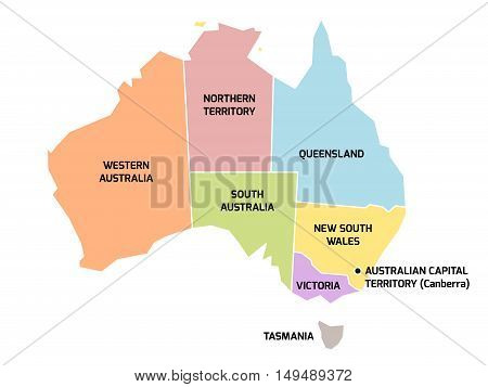 Simplified map of Australia divided into states and territories. Grey flat map with white borders and black labels.