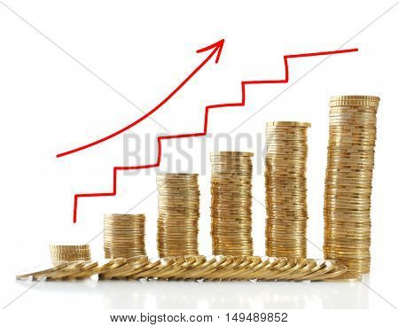 Stacks of coins on white background. Currency exchange rate concept.