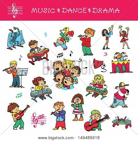 Hand drawn. Vector illustration. A set of drawings of children engaged in music singing and acting skills. Isolated objects.
