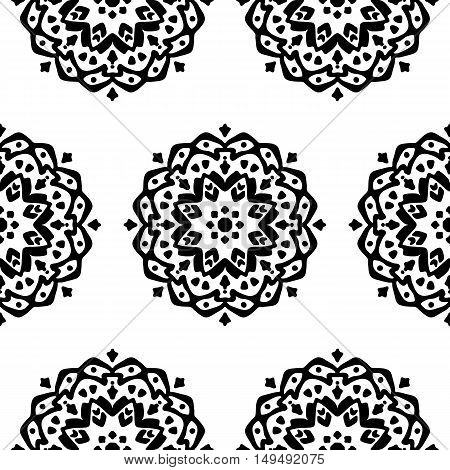 Seamless pattern with hand drawn mandalas. Black and white vector illustration with ethnic design. Eastern decorative motifs