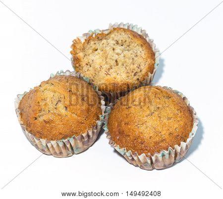 Group of banana cupcake on white background.