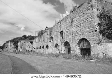 A view of a now derelict lime kiln complex in Fife