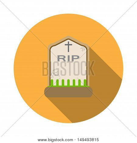 Isolated vector icon of headstone for Halloween with shadow.