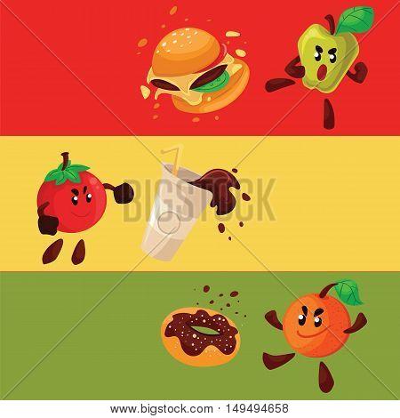 Apple, orange, tomato fighting burger, donut, cartoon style illustration. Health food against fast food, smart eating habit poster, banner, card design