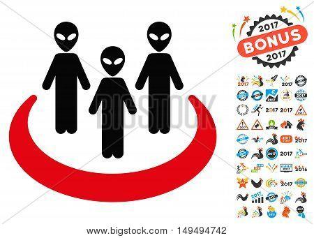 Alien Community icon with 2017 year bonus glyph pictograms. Design style is flat symbols, white background.