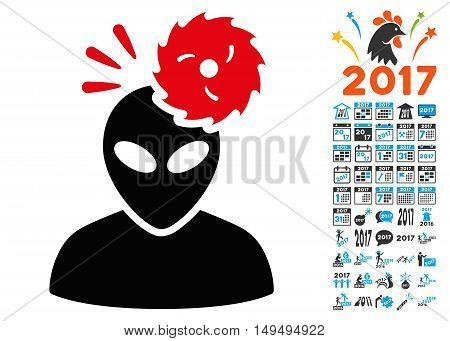 Alien Exploration icon with 2017 year bonus glyph pictographs. Set style is flat symbols, white background.