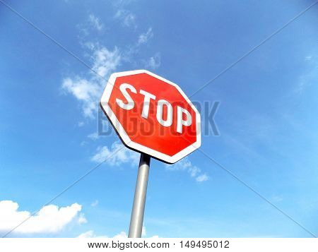 Stop roadsign near asphalt road in nature during sunny day