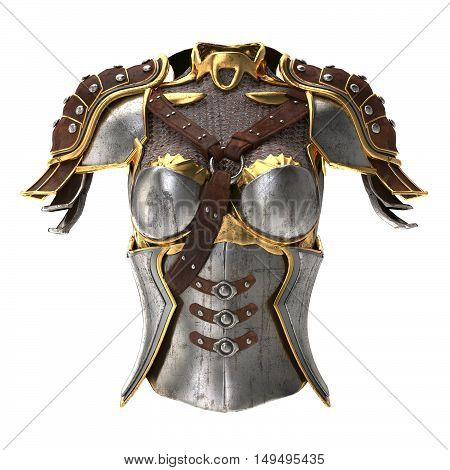 woman armor 3d illustration isolated on background