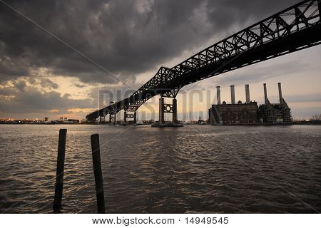 Bridge and Power Plant at Sunset