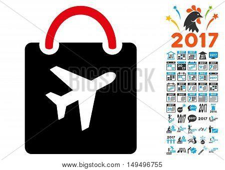 Duty Free Bag icon with 2017 year bonus glyph pictographs. Design style is flat symbols, white background.