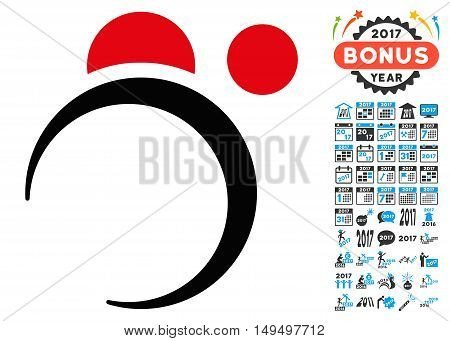 Planet System icon with 2017 year bonus glyph pictograms. Design style is flat symbols, white background.