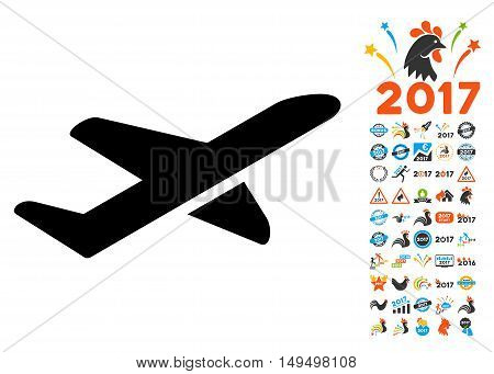 Takeoff icon with 2017 year bonus glyph pictograms. Collection style is flat symbols, white background.