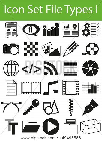 Icon Set File Types I with 30 icons for the creative use in graphic design