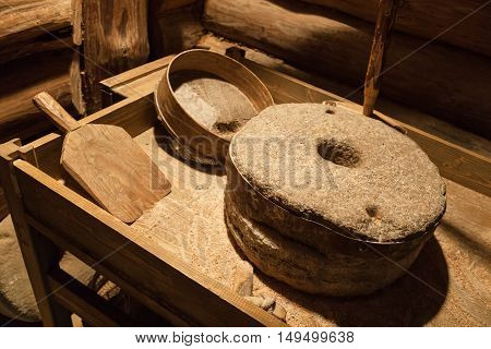 Old Millstones For Grinding Grain, Vintage