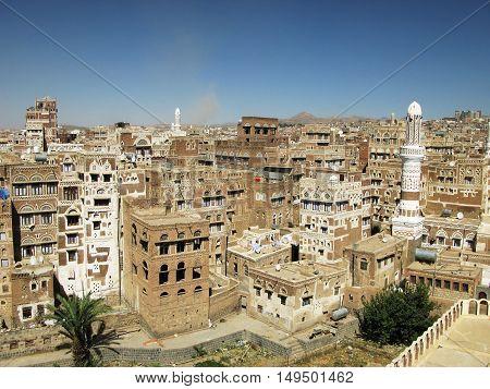 Aerial view of Sanaa old city Yemenia