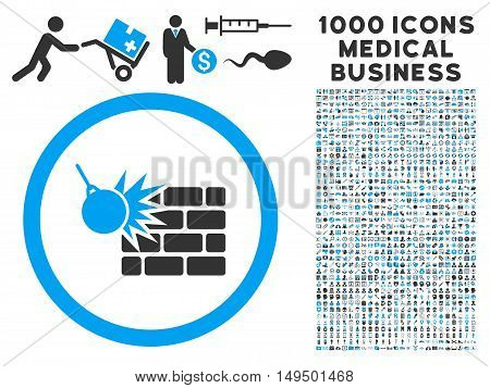 Wall Destruction icon with 1000 medical commerce gray and blue vector pictographs. Design style is flat bicolor symbols white background.