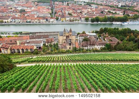 Aerial View Of Wurzburg Skyline And Main River In Beautiful Evening Light In Summer, Germany