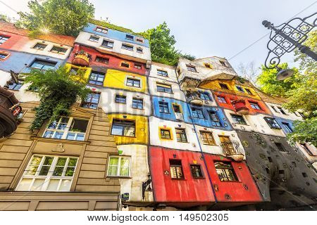View Of Hundertwasser House In Vienna, Austria.