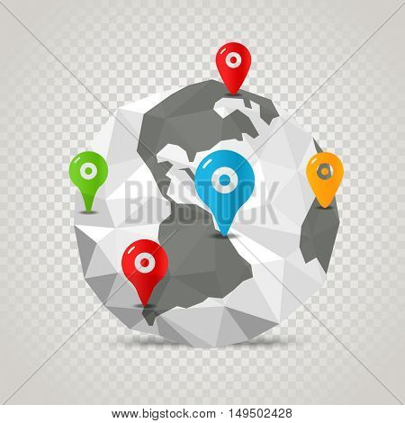 The Earth with abstract World map. Infographic template with pins on transparent background