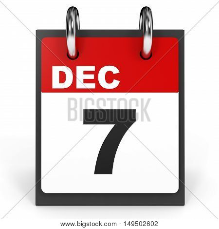 December 7. Calendar On White Background.