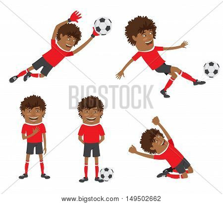 Funny African American Soccer Football Player Wearing Red T-shirt Running, Standing And Kicking A Ba